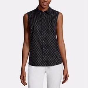 NWT LIZ CLAIBORNE black white Polka Dot shirt M